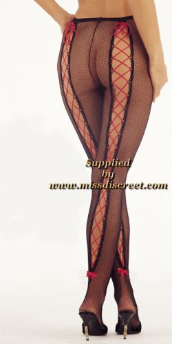 Women's Ultra Sexy Black Fishnet Tights - Pantyhose with Red Satin Ribbon & Tiny Red Heel Bows